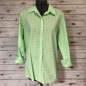 Joe Fresh lime green gingham button front top